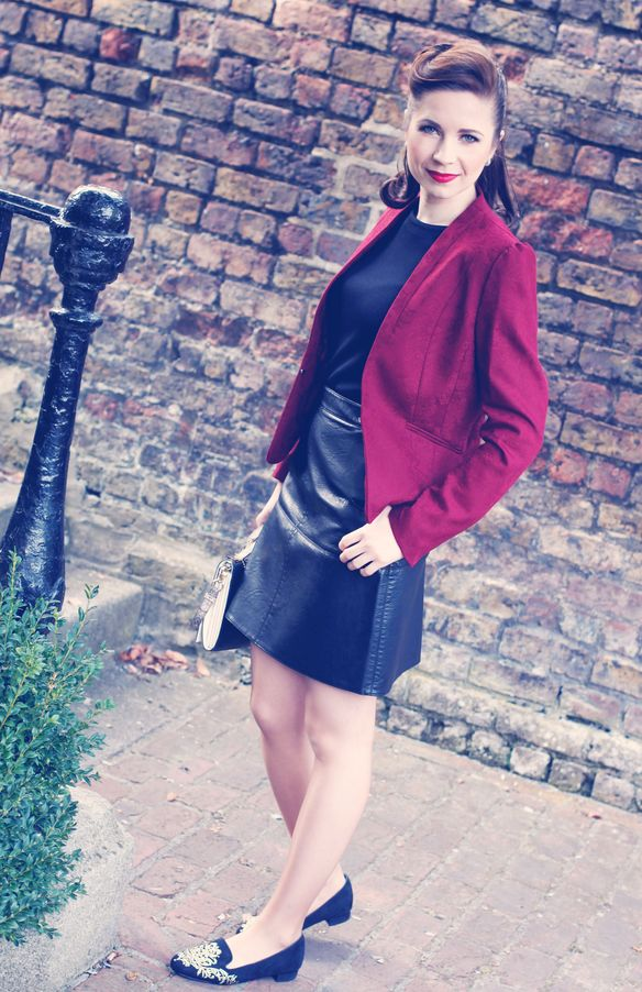 Zara skirt H&M Jacket, Carvela shoes