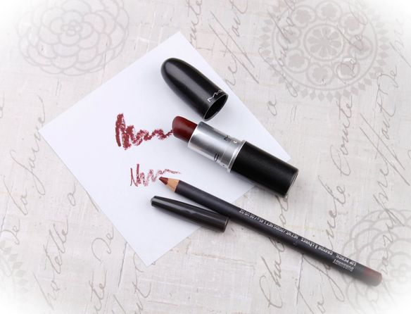 Mac Sin lipstick and Mac Burgundy Lip pencil
