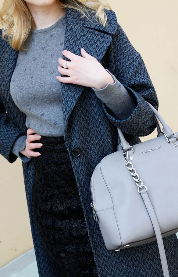 How To Wear  Lace Skirts, Black lace skirt, grey jumper, OOTD,