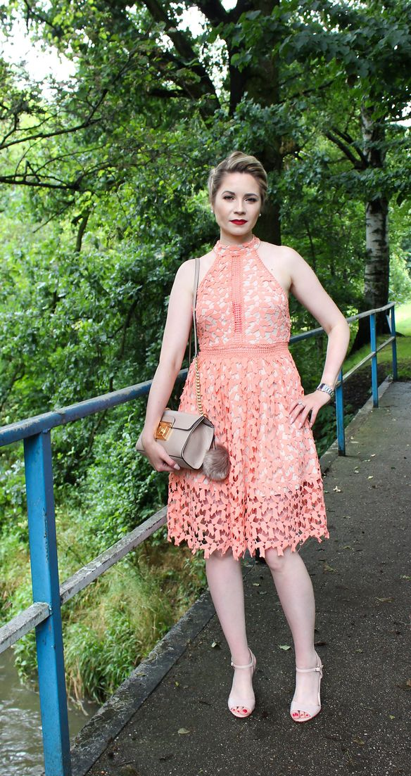 orange lace dress, wedding guest dress, evening dress, sexy dress,  mac lipstick Russian red,  perfect dress, nude dress,