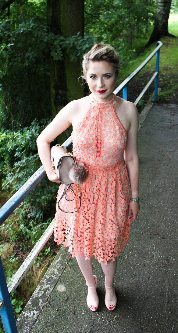 orange lace dress, wedding guest dress, evening dress, sexy dress,  mac lipstick Russian red,  perfect dress, nude dress,
